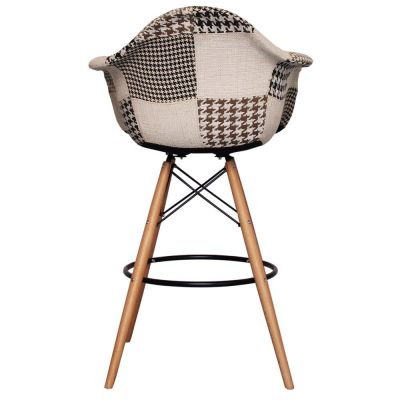 DAW High Stool With A Black & Whiet Fabric Rear View