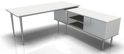Longo White Desk And Credenza