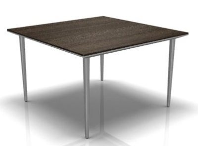 Longo Square Desk Or Table With A Dark Oak Top And Silver Legs