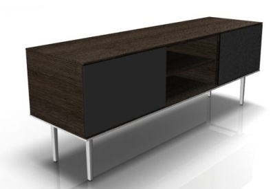 Longo Credenza With Glass Doors In Dark Oak