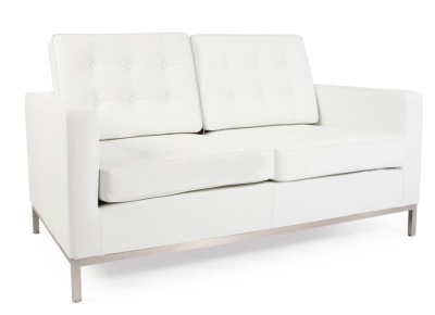 Florence Knoll Two Seater Sofa In White Leather Anghle View
