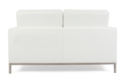 Florence Knoll Two Seater Sofa In White Leather Rear View