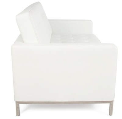 Florence Knoll Two Seater Sofa In White Leather Side View