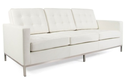 Florence Knioll Three Seater Sofa In White Leather Angle Shot