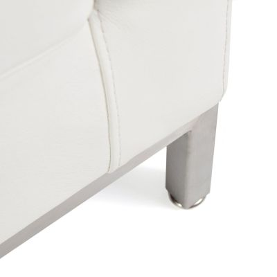 Florence Knoll Sofa White Leather Detail Shot