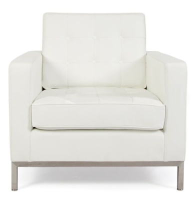 Florence Knoll Armchair In White Leather Front View