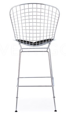 Wire High Stool With Black Seat Rear View