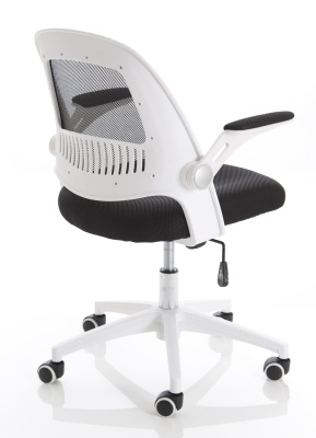 Context Chair With A White Frame And Black Mesh Rear Angle