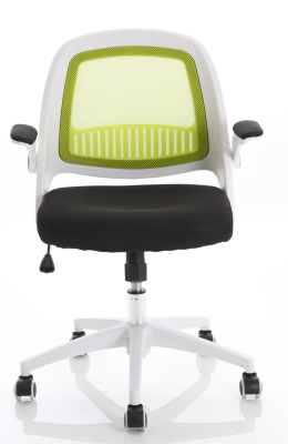 Context Chair With Green Mesh And A White Frame Front View