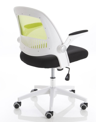 Context Mesh Chair White Frame And Green Back Rear Angle