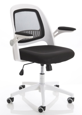 Context Mesh Chair With A White Frame And Black Back Front Angle