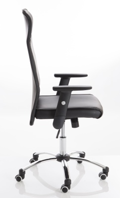 Turino Black Leather Chair Side View