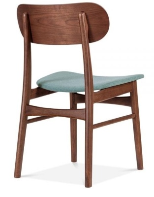 Ontario Designer Dining Chair With Teal Seat Rear Angle