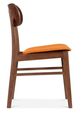 Ontario Dining Chair With An Orange Fabric Side View