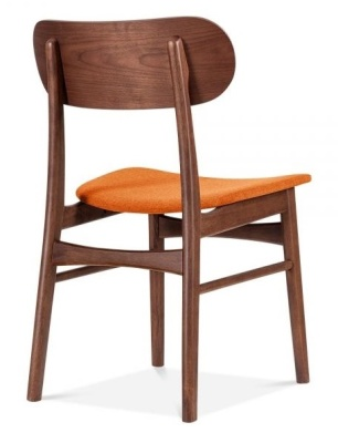 Ontario Dining Chair With An Orange Fabric Seat Rear Angle