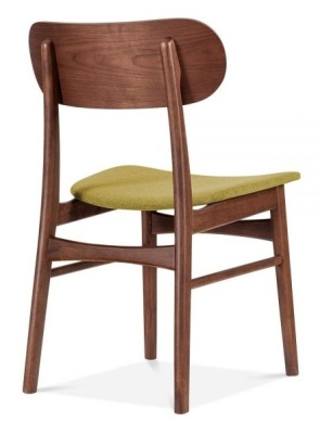 Ontario Dining Chair With An Olive Fabric Seat Rear Angle
