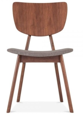 Polly Dining Chair Light Grey Fabric Front View