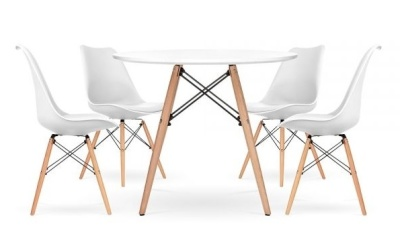 eames inspired white dsw dining set with seat pads