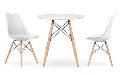 Eames Two Person DSW Dining Set With Seat Pad In White