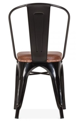 Xavier Pauchard Side Chair With A Brown Faux Leather Seat Rear View