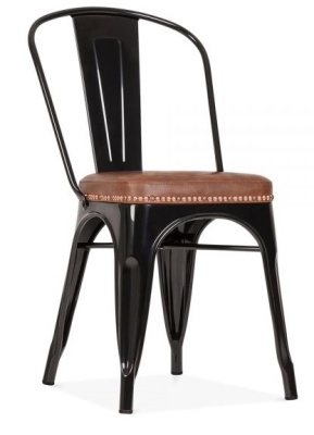 Xavier Pauchard Black Chair With A Faux Leather Seat Front Angle