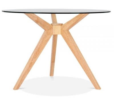 Valentino Table Natural Finish Glass Top