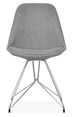 Geometric Upgolstered Chair Grey Fabric Front Shot