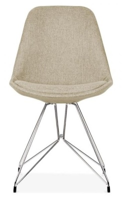 Geometric Chairs Beige Fabric Front View