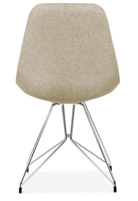 Geometric Chair Beige Fabric Rear View