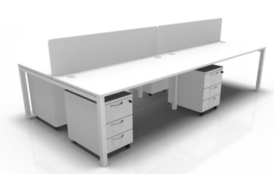 Star Four Person Bench, Screen And Pedestal Package In White