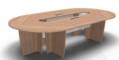 Long Oval Table Mod Panel And Power Module Natural Cherrywood