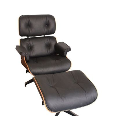 Eames Lounge Chair Black Leather And Walnut Front