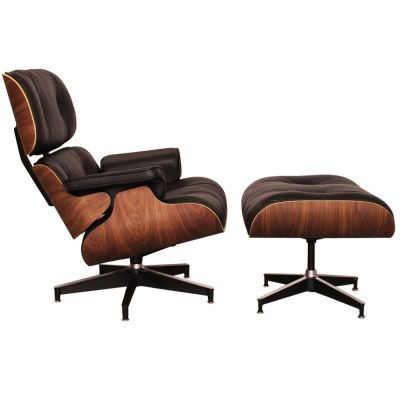 Eames Lounge Chair Black Leather And Walnut Side