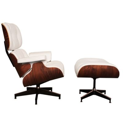 White Leather And Walnut Eames Lounge Chair Side View