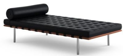 Barcelona Black Leather Day Bed