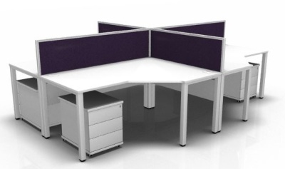 Avalon Four Person Corner Desk Screen, Pedestal And Screen Bundle