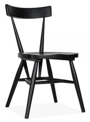Trapeze Black Wooden Ding Chair Angle