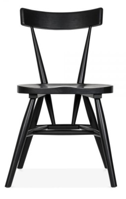 Trapeze Wooden Dining Chairs In Black Front View