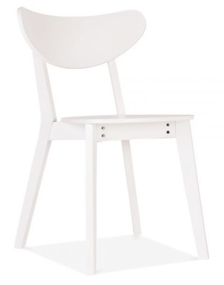 Joshua Wooden Dining Chair In White Angle View