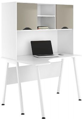 Ulclic Aspire Reflections Corner Desk And Overhead Cupboard With Stone Cooured Fronts