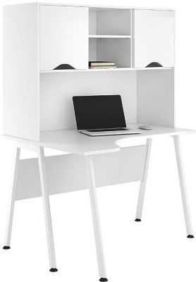 UUclic Aspire Reflections Corner Desk With Overhead Cupboard And White Doors