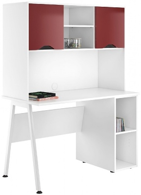 UClic Caspire Reflection Pedestal Desk With Overhead Cupboards