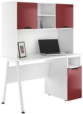 UCLIC Aspire Pesdestal Desk With Overhead Cvupboards