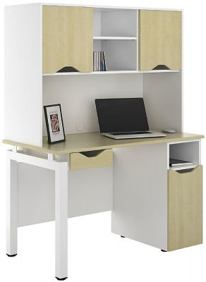 Uclic Engage Sylvan Desk With Desk Cupbopatrd, Drawer And Overhead Storage Cupboards