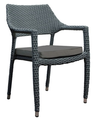 Belize Stackable Rattan Armchair With Brown Cushion