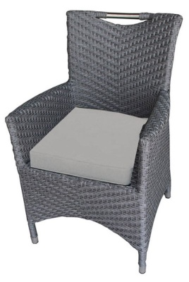 San Juan Rattan Armchair With Light Grey Seat Cushion