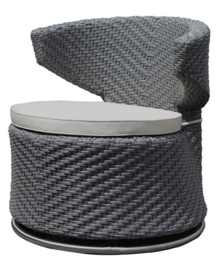 Madrid Outdoor Weave Swivel Chair With Light Grey Seat Cushion