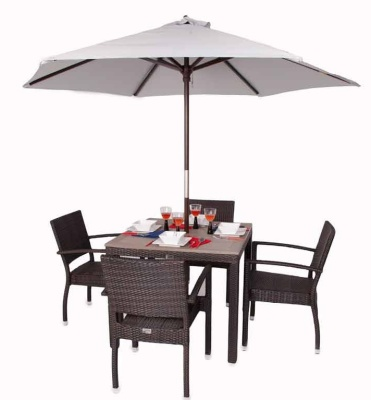 Orion Four Person Armchair Dining Set Shown With Parasol