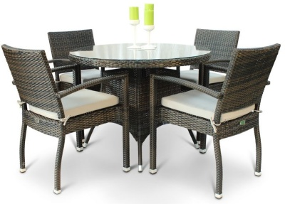 Orion Four Person Armchjair Dining Set With A Circ Table And Glass Top