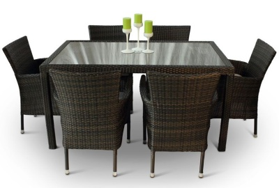 Cuba Six Person Dining Set Glass Table Top